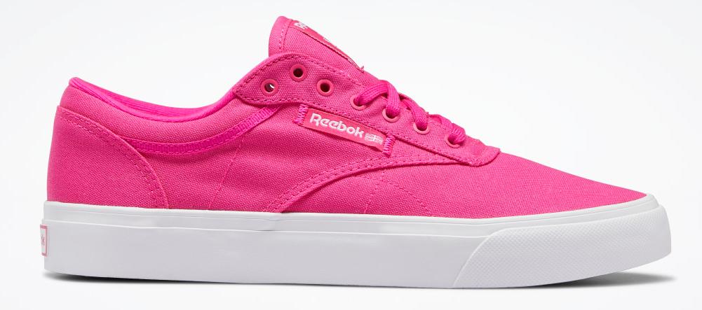 pink and white Reebok shoe