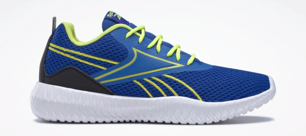 blue, yellow and white Reebok sneaker