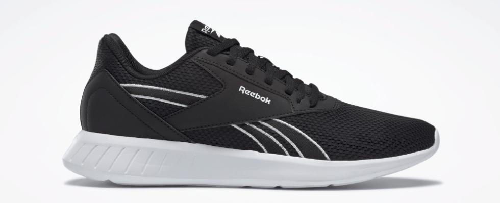 black and white Reebok sneaker