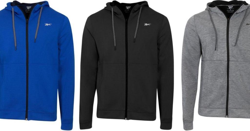 three men's sweatshirts