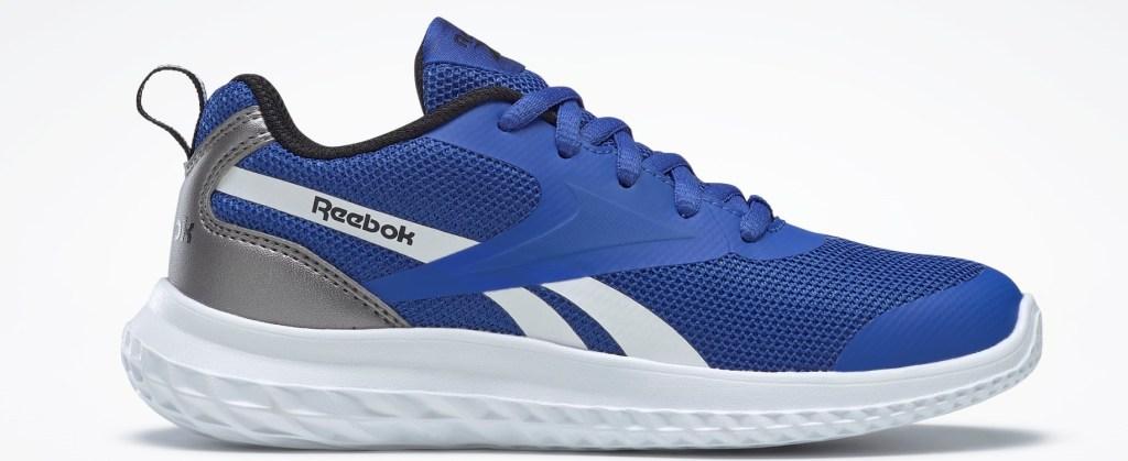 blue, white and grey Reebok sneaker