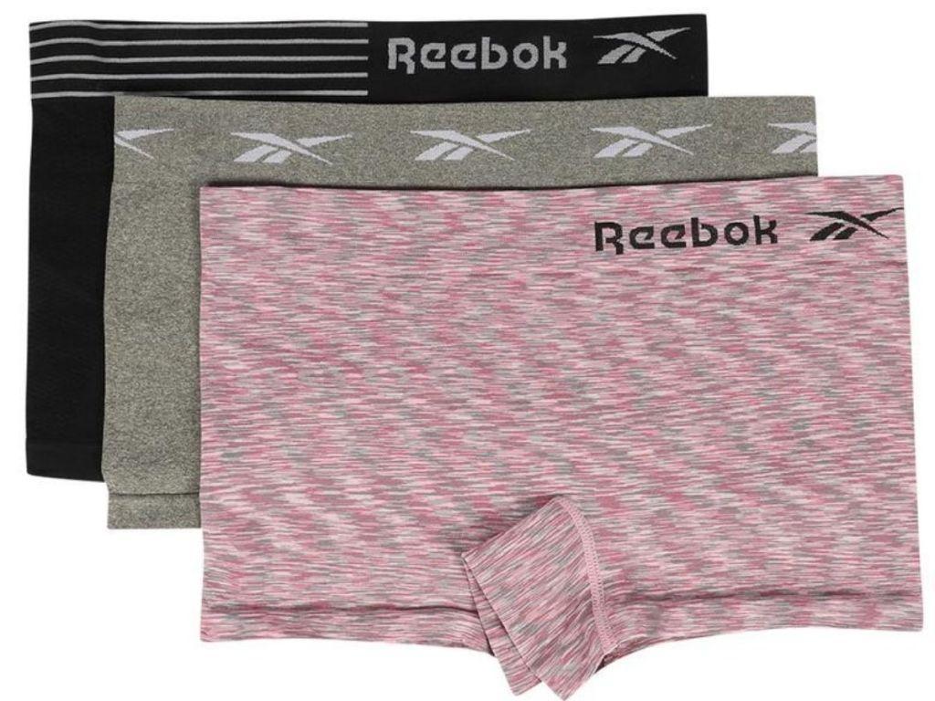 black gray and pink Reebok boy shorts