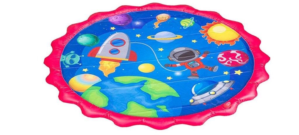rocket ship themed splash pad