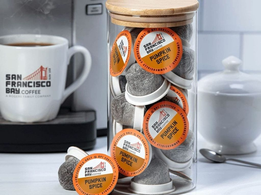SF Bay pumpkin spice coffee pods in holder in front of coffee machine