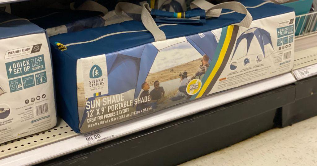 portable sun shade on shelf
