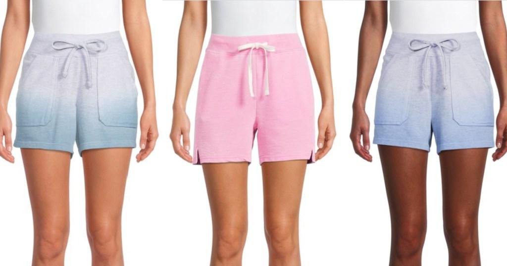 3 women wearing terry shorts