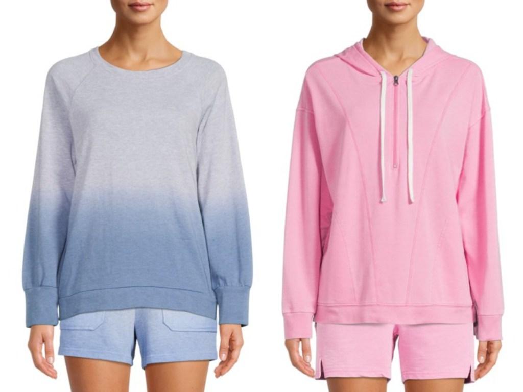 2 woman wearing terry hoodies
