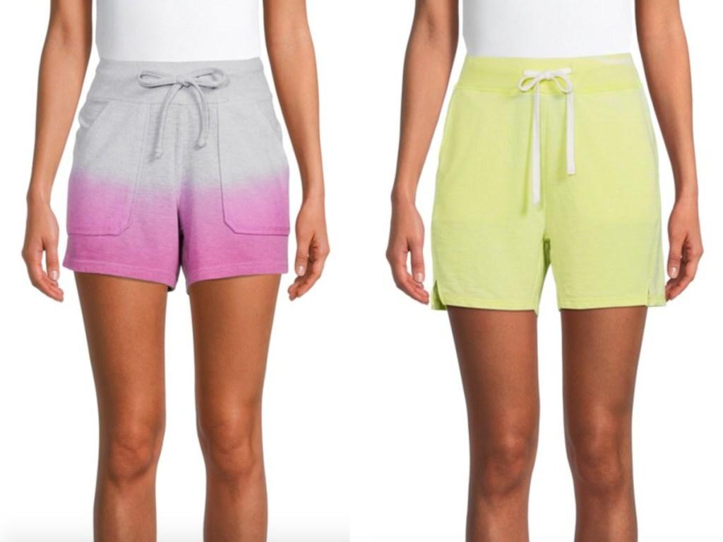 2 women wearing terry cloth shorts