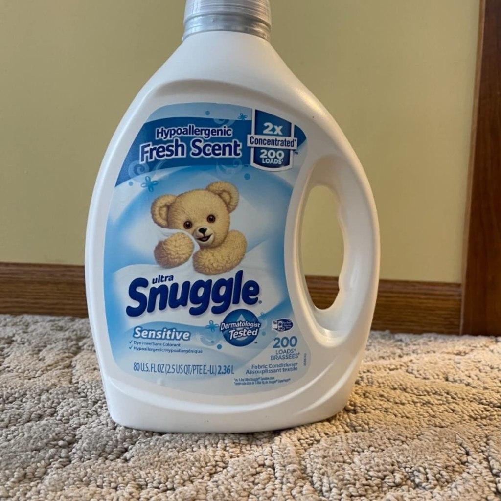 Snuggle Sensitive Fabric Softener on rug