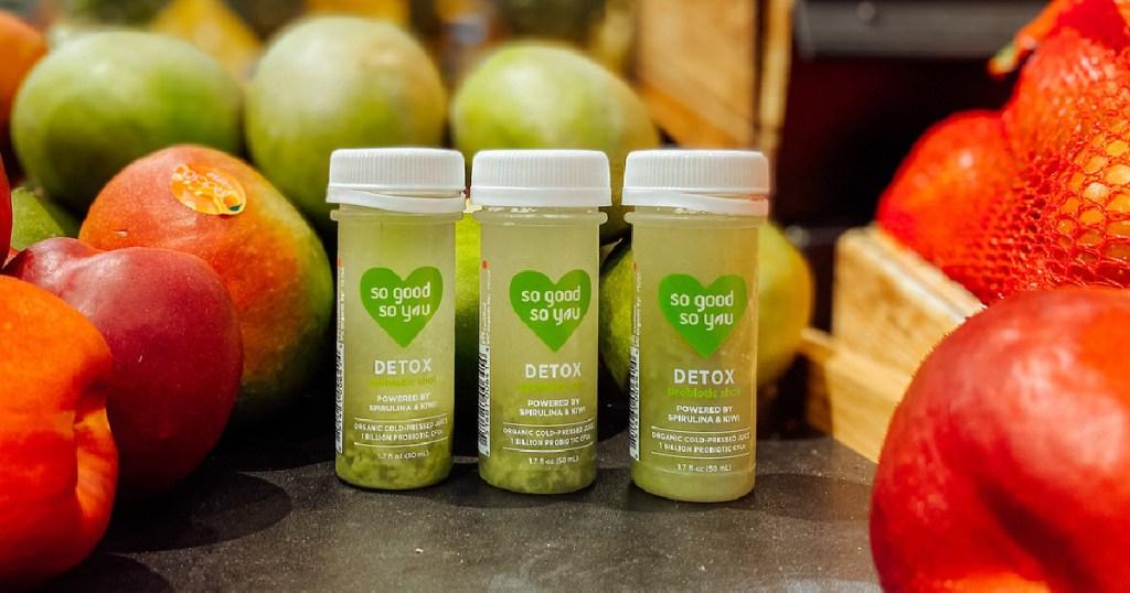 So Good So You Detox Shots set in front of fruit