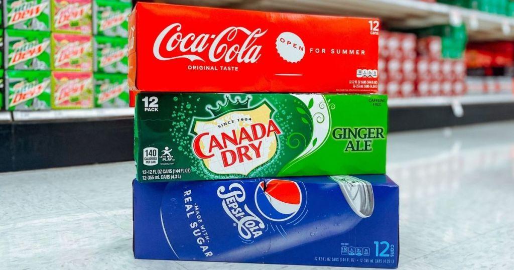 three cases of soda