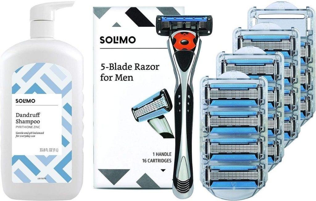 Solimo Dandruff Shampoo and Razors