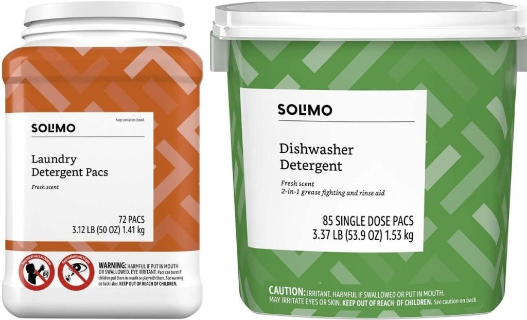 Solimo Laundry Detergent and Dishwasher Packs