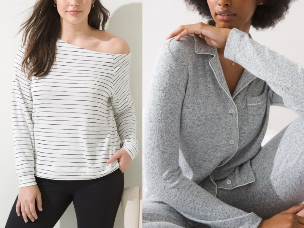 women wearing Soma off the shoulder top and pajamas