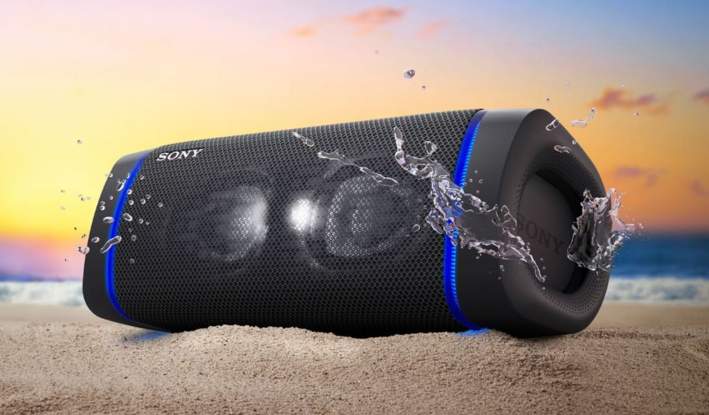 Sony speaker on sand