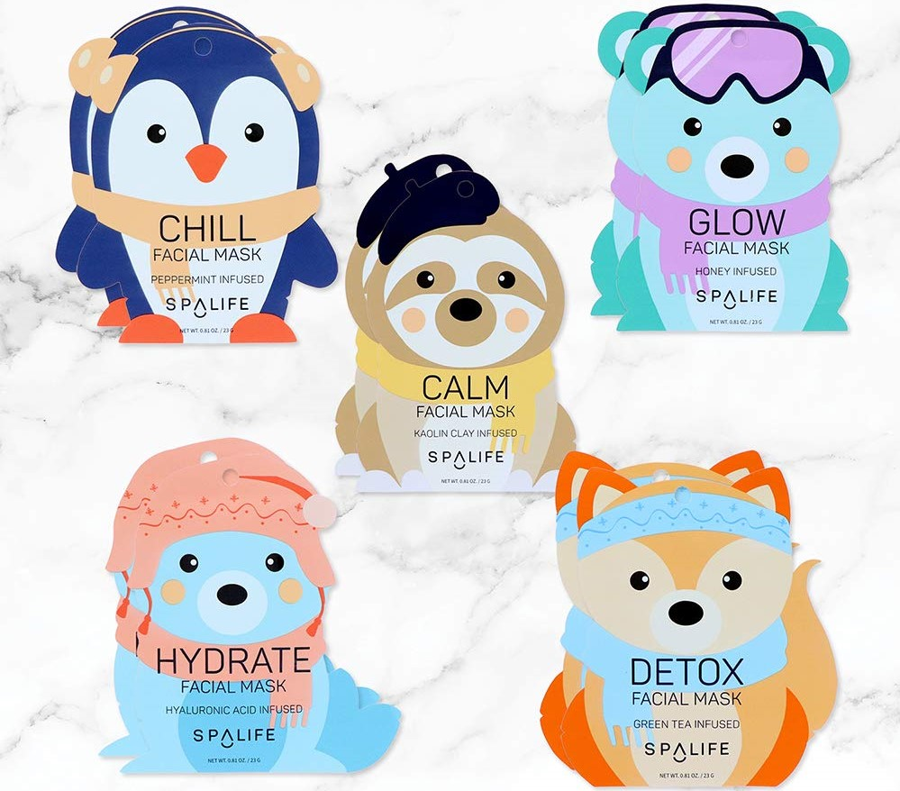 facial masks with snow animals on the front