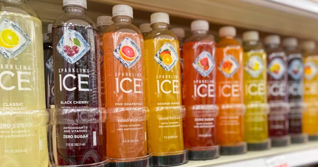 multiple bottles of sparkling ice on store shelf