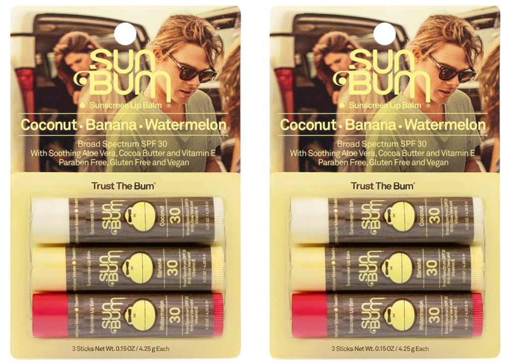 two variety packs of sunscreen lip balm
