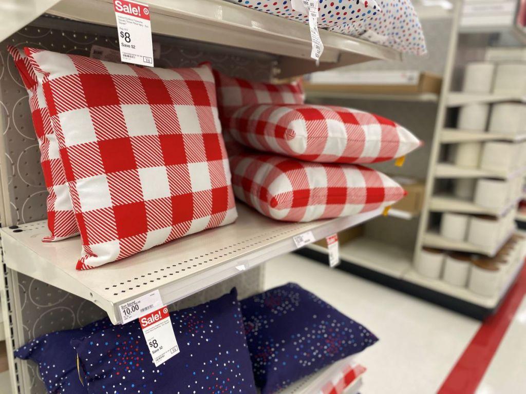 pillows on a shelf at Target