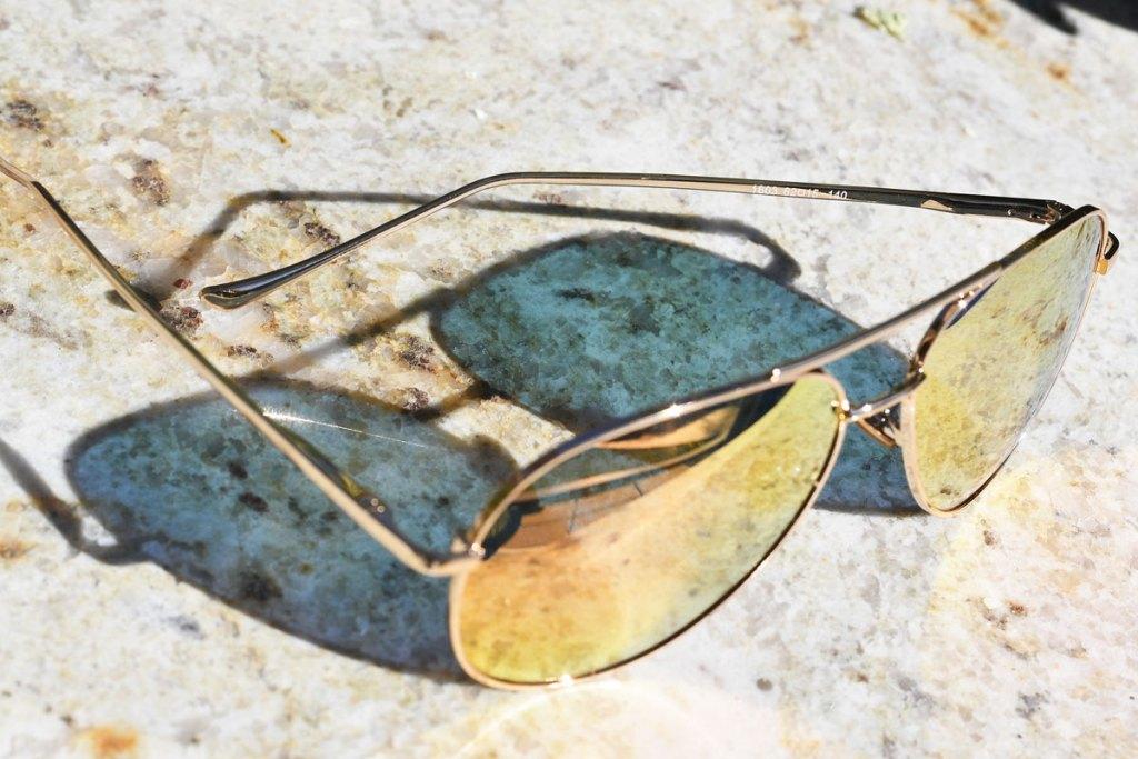 pair of mirrored aviator sunglasses