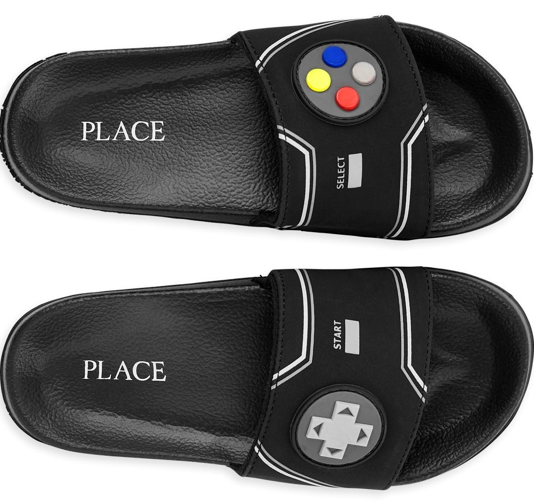 pair of sandals that have video game decals