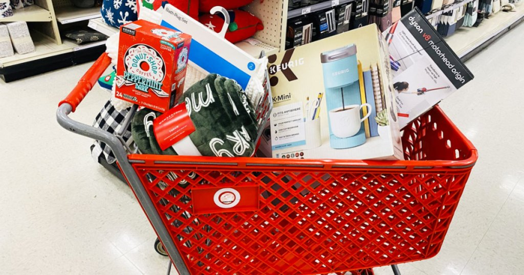 target shopping cart filled with items