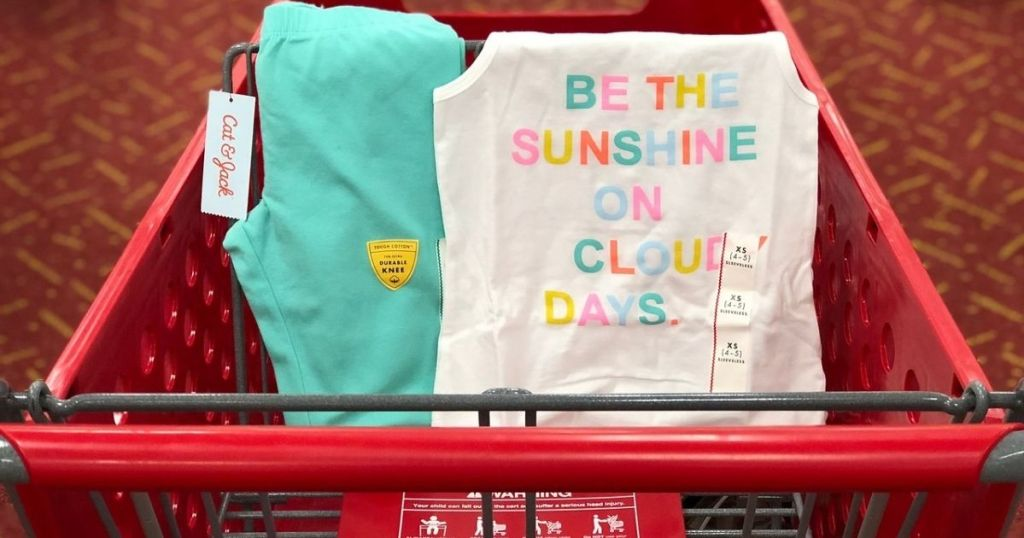 Cat & Jack girls clothes in Target shopping Cart