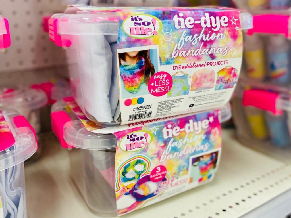 tie dye kits on display in-store