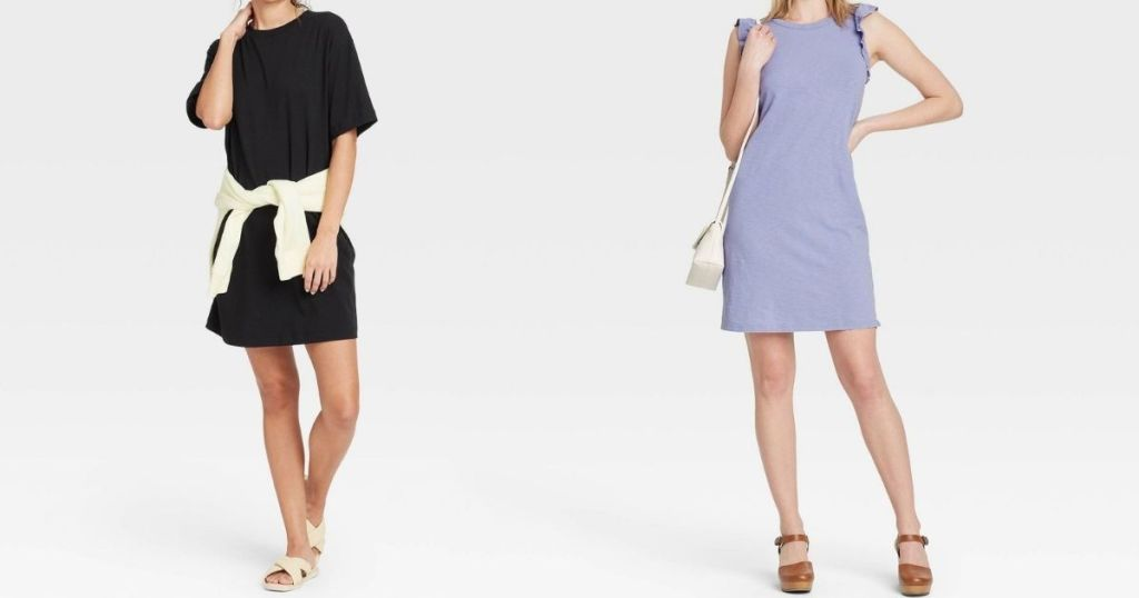 two women wearing dresses