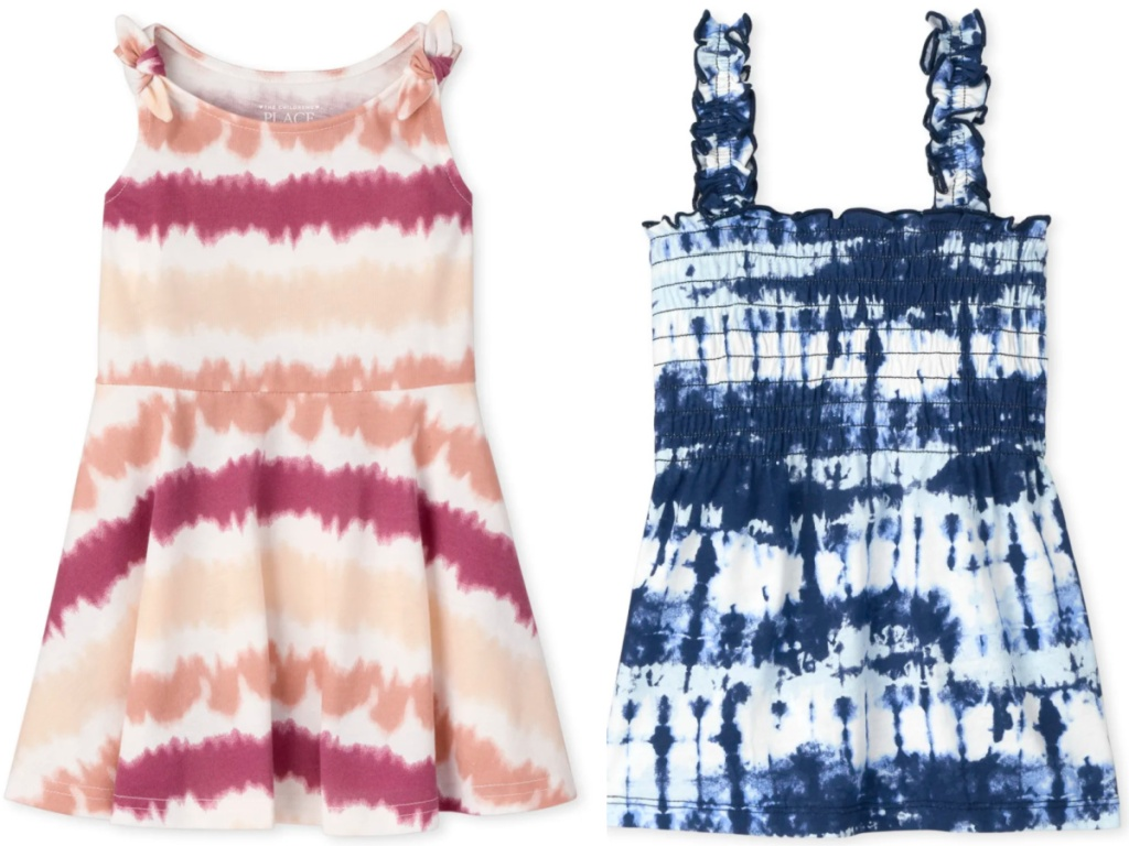 children's place girls skater dress and smocked tie dye top