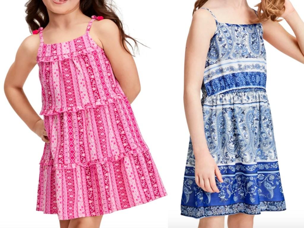 2 little girls wearing children's place dresses