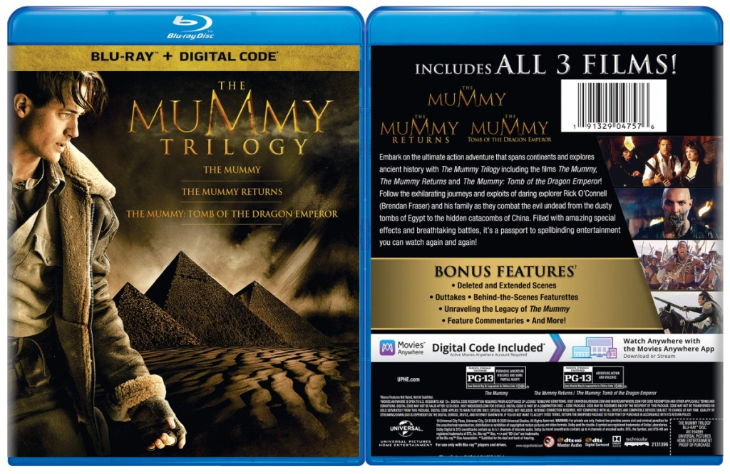 The Mummy Trilogy Blu-ray + Digital front and back