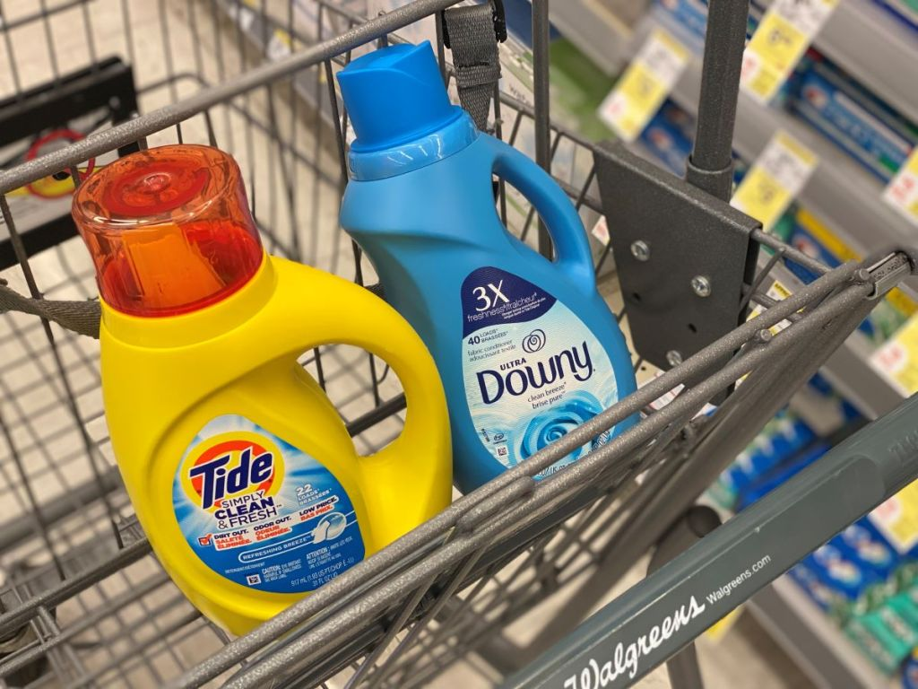 Tide and Downy in a Walgreens Cart