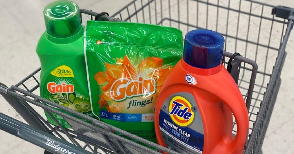 laundry detergent in basket