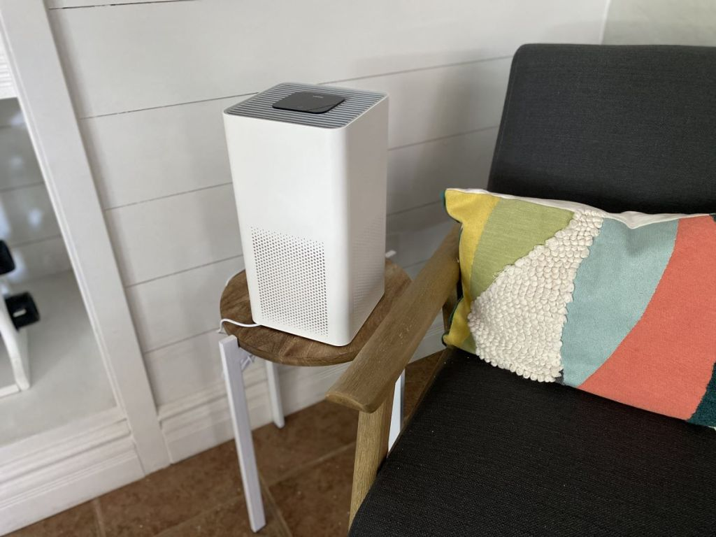 air purifier on a stool