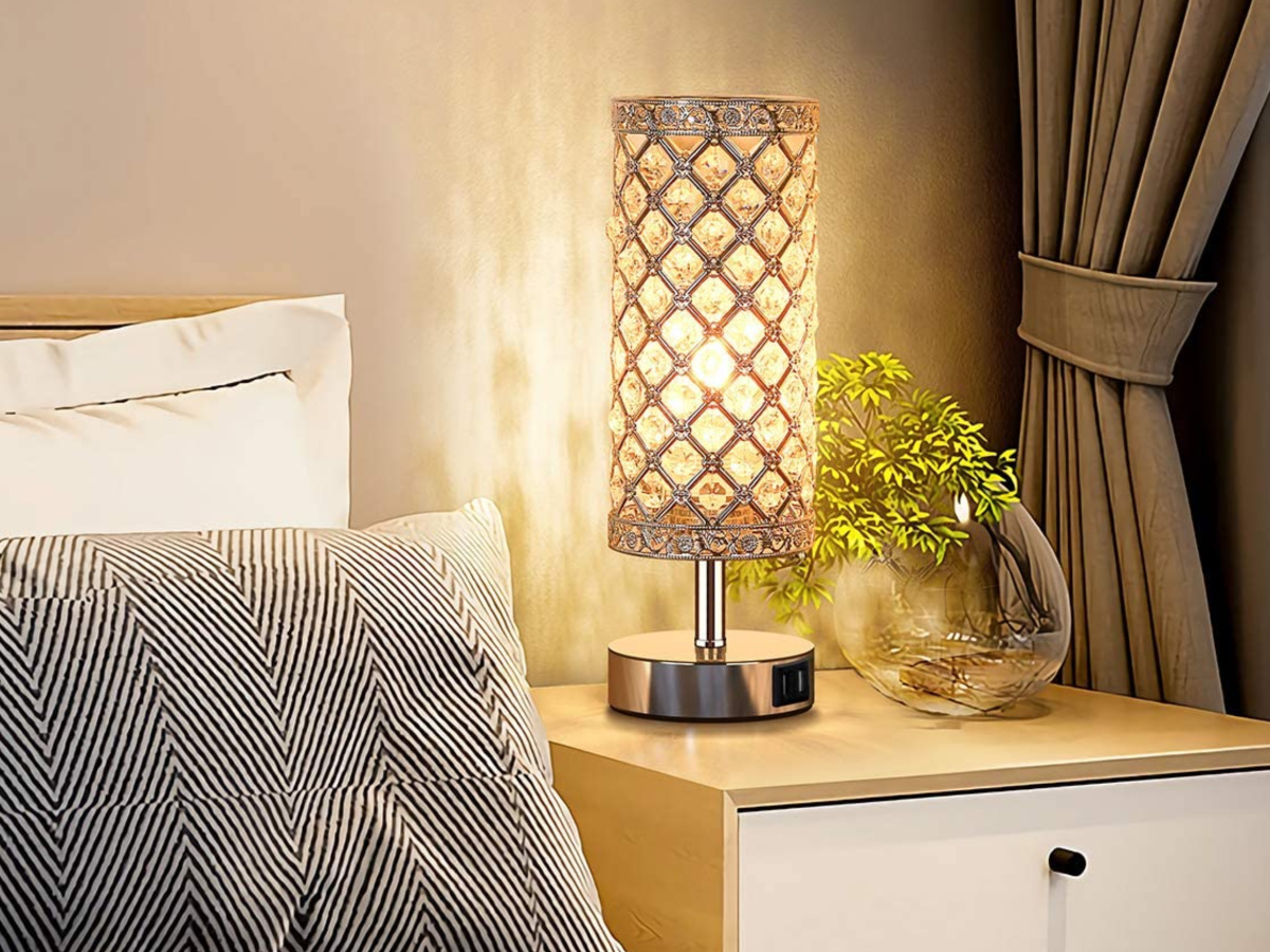 Touch Control Crystal Table Lamp Set of 2 Bedside Nightstand Lamps in bedroom next to plant