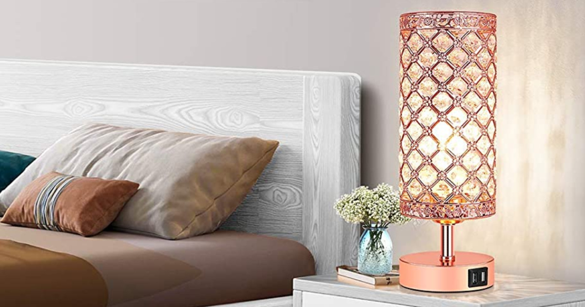Touch Control Crystal Table Lamp Set of 2 in bedroom