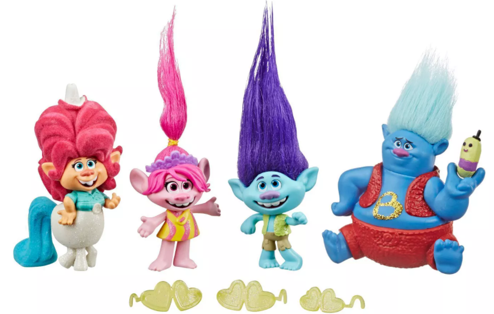 group of Trolls toys and accessories