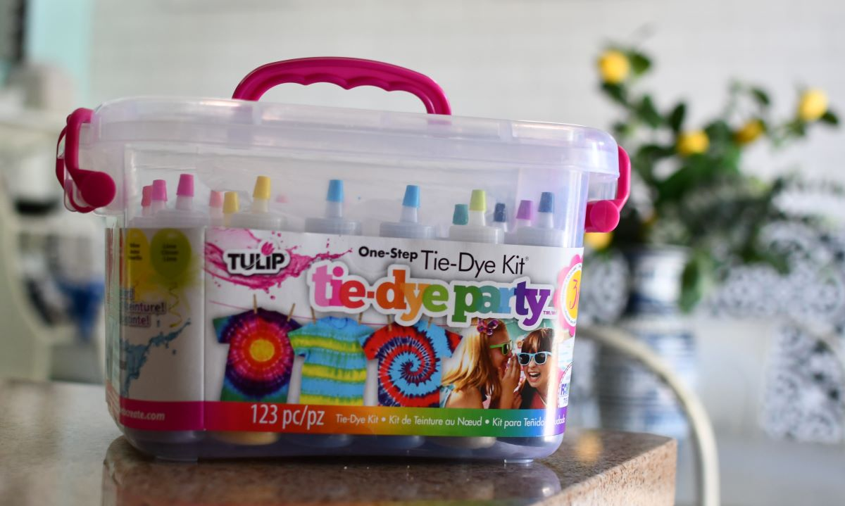Tulip Tye-Dye Party Kit box on counter