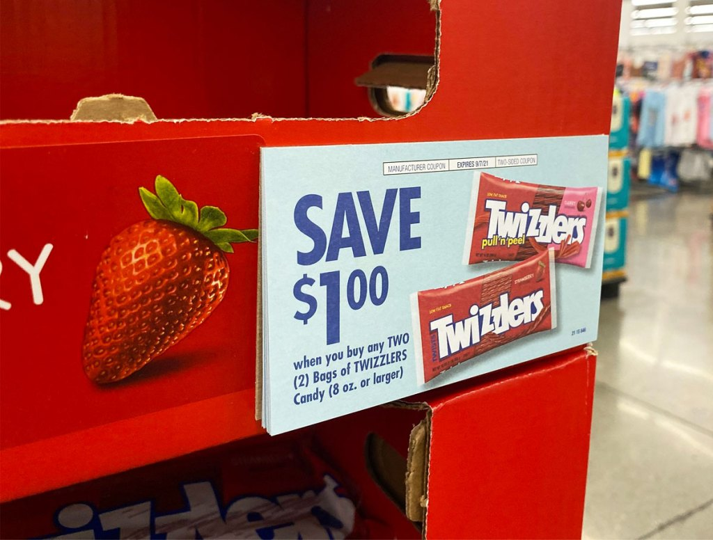 coupon on twizzlers in-store display