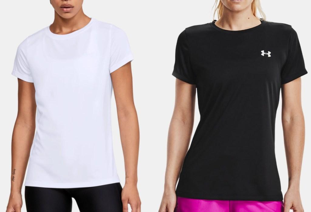 two women wearing athletic tees