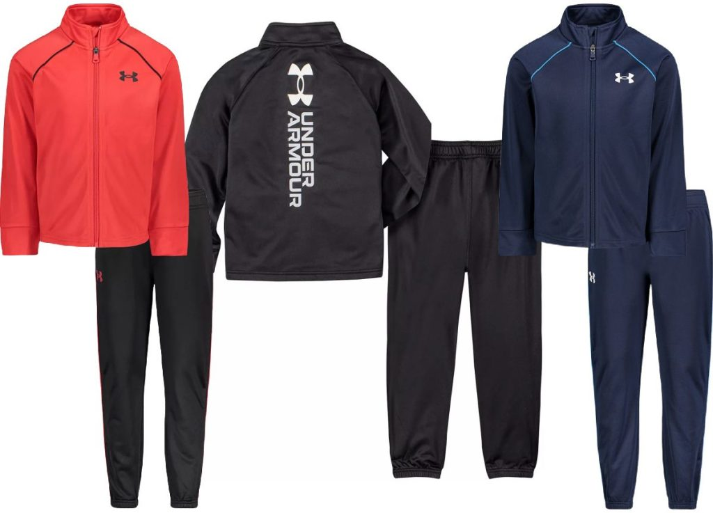 three boys' pant and jacket sets in different colors
