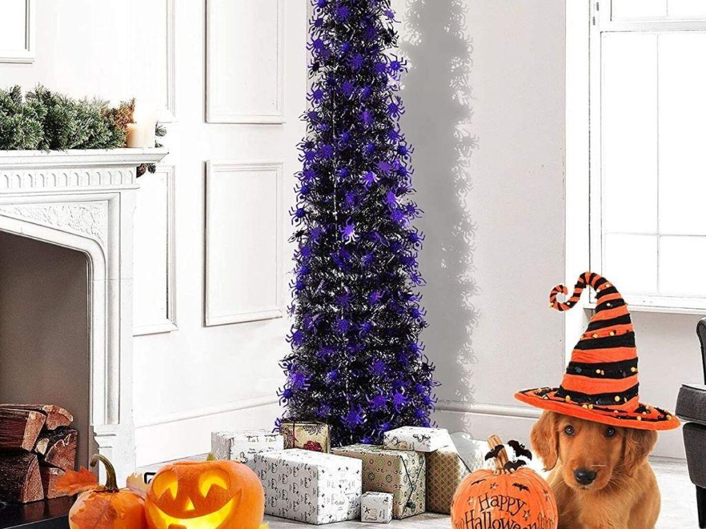 Tinsel halloween tree in living room