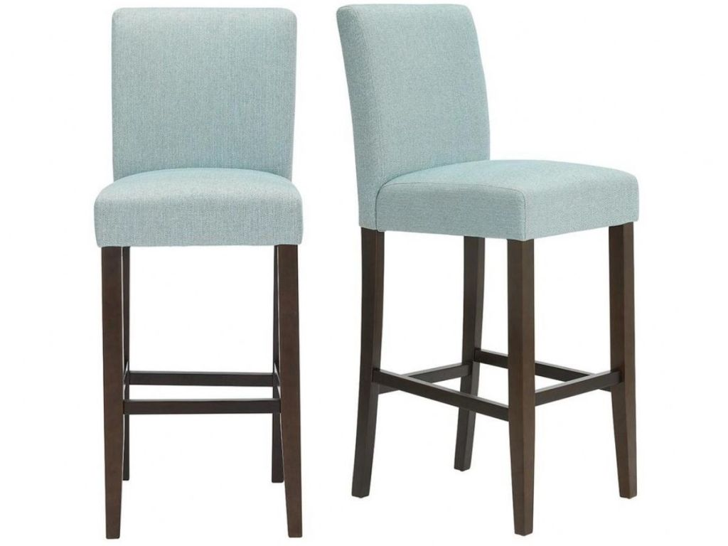 Banford Sable Brown Wood Upholstered Bar Stool with Back and Charleston Teal Seat