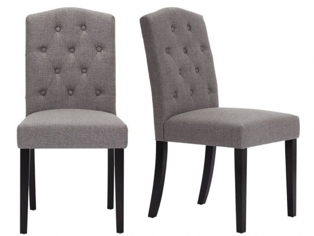 Beckridge Ebony Wood Upholstered Dining Chair with Charcoal Seat