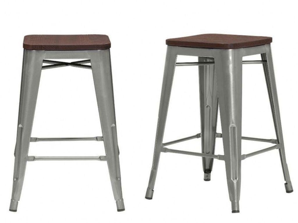 Finwick Gunmetal Gray Metal Backless Counter Stool with Wood Seat