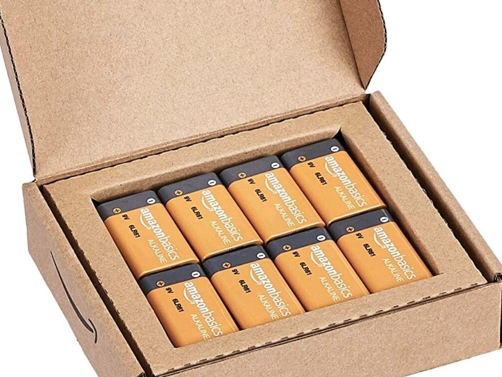 Amazon Basics 8 Pack 9 Volt Performance All-Purpose Alkaline Batteries in box