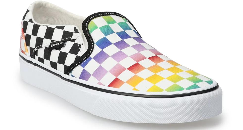 women's shoe with rainbow checker design