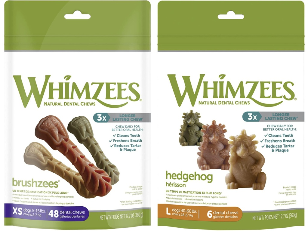 2 packages of whimzee dog treats