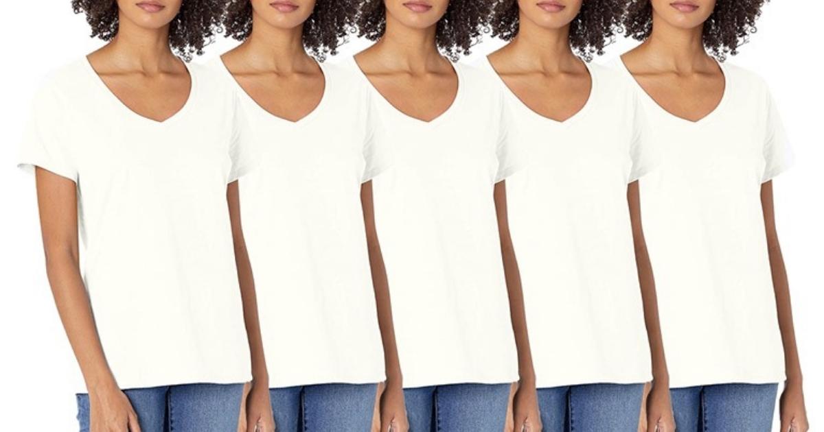 Women's 5-Pack Hanes Short Sleeve V-Neck Cotton Tee White